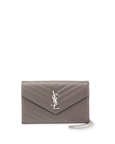 Monogram YSL Large V-Flap Grain de Poudre Calfskin Wallet on Chain