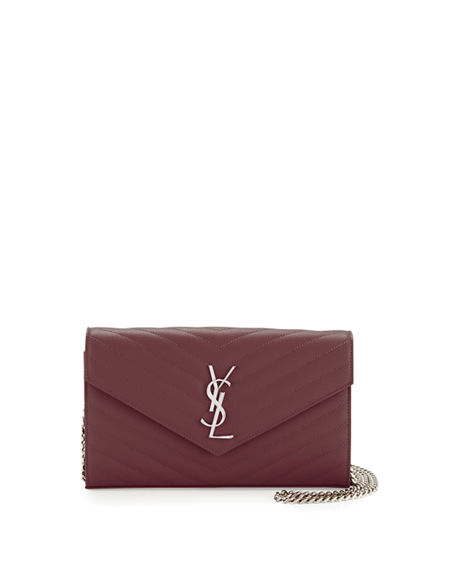 fae0411ee0c1 Saint Laurent Monogram Ysl Large V-Flap Grain De Poudre Calfskin Wallet On  Chain In