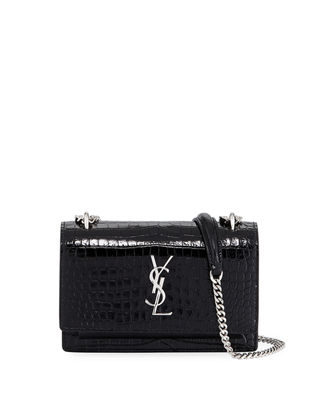 Image 1 of 3: Sunset Monogram Small Crocodile Embossed Wallet on Chain