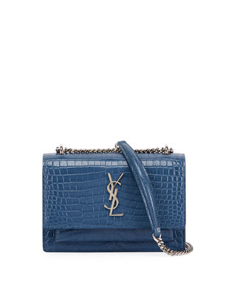 Saint Laurent Sunset Monogram Small Crocodile Embossed Wallet