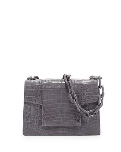 Nancy Gonzalez Crocodile Medium Flap Shoulder Bag, Red