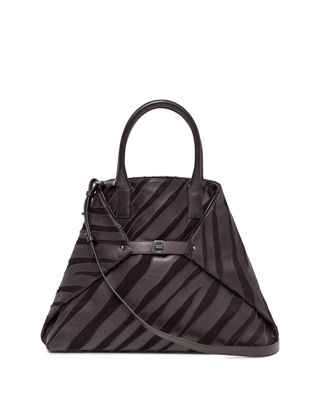 Akris Ai Medium Top-Handle Zebra-Stripe Shoulder Bag