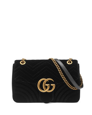 Medium Gg Marmont 2.0 Matelasse Velvet Shoulder Bag - Black