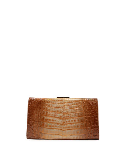 Metallic Crocodile Slim Frame Clutch Bag