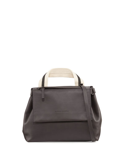 Brunello Cucinelli Medium Leather Satchel Bag