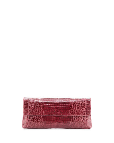 Nancy Gonzalez Gotham Crocodile Flap Clutch Bag