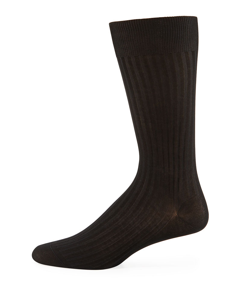 Pantherella Mid-Calf Stretch-Lisle Dress Socks