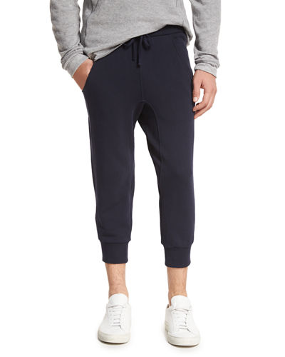 Drop-Rise Cropped Sweatpants