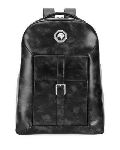 Marbled-Leather Backpack