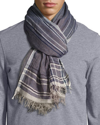 Brunello Cucinelli Striped-Border Linen Scarf