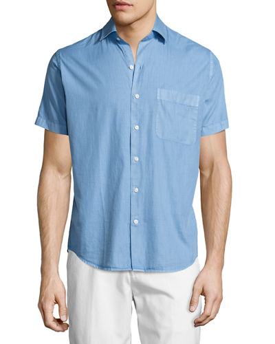 Peter Millar Seaside Washed Short-Sleeve Shirt