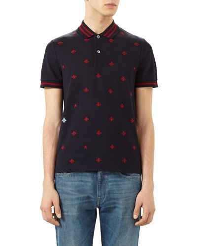 Gucci Cotton Polo w/Bees & Stars