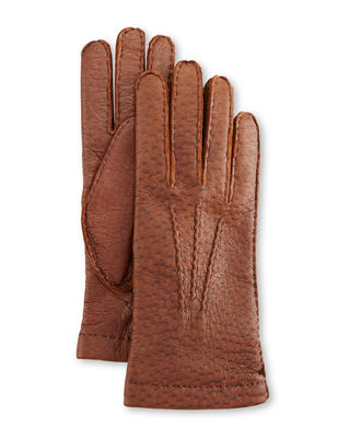 HESTRA GLOVES Peccary Hand-Sewn Leather Cashmere-Lined Gloves, Brown