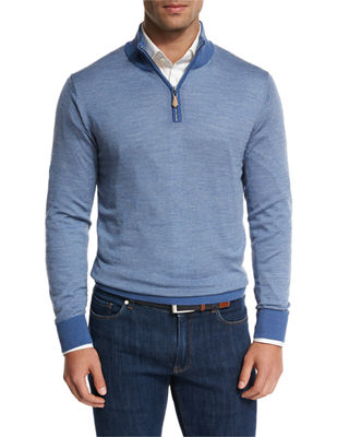 Peter Millar Collection Merino-Silk-Cashmere Birdseye Quarter-Zip