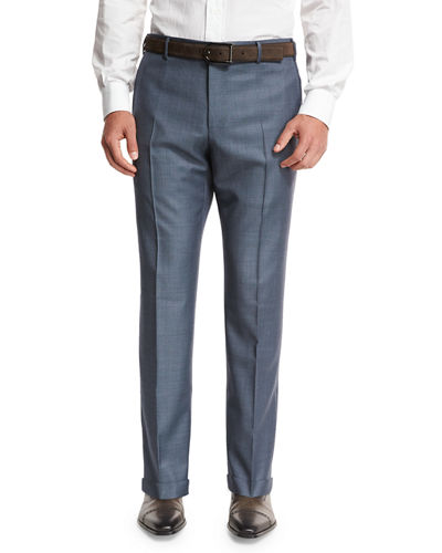 Super 130s Wool Sharkskin Trousers