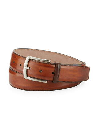 Image 1 of 3: Square-Buckle Calf Leather Belt