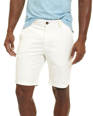 Pioneer Cotton Twill Flat-Front Shorts, White