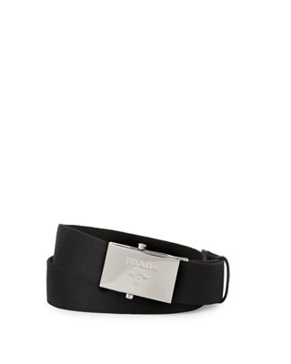 Prada Nylon Belt w/Logo Plaque Buckle