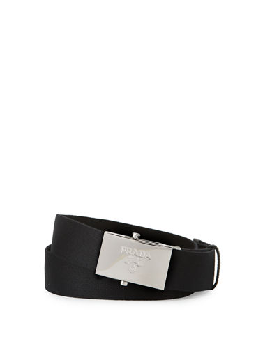Nylon Belt w/Logo Plaque Buckle
