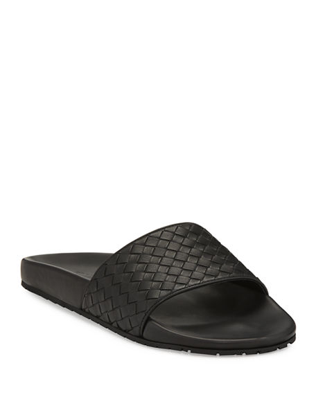 Bottega Veneta Intrecciato Leather Slides Grey outlet store online C3U6YAEjRl