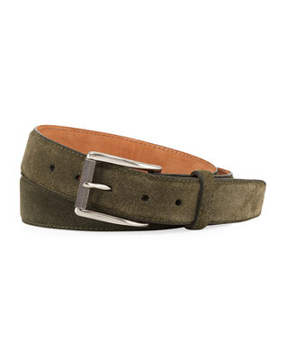 W. KLEINBERG Men'S Suede Belt in Brown Light