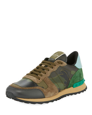 Valentino Garavani Men's Rockrunner Camo Leather Trainer Sneaker