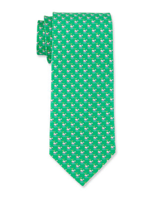 Image 1 of 3: Whale Print Silk Tie