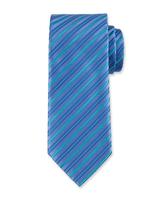 Assorted Silk Striped Ties in Blue/Blue