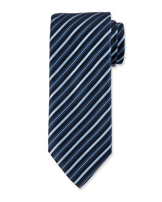 Assorted Silk Striped Ties in Navy/Blue