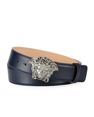 Leather Medusa-Buckle Belt
