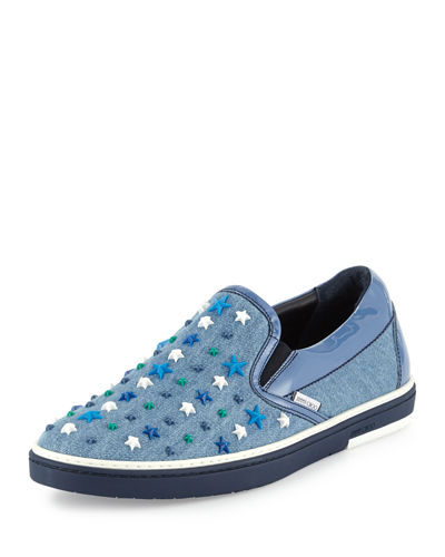 Men's Grove Star-Detail Denim Slip-On Sneakers