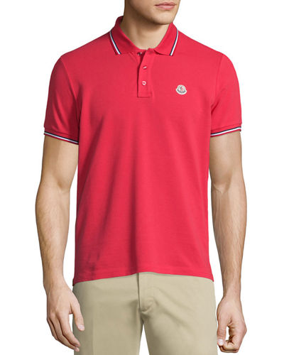 Moncler Tipped Short-Sleeve Pique Polo Shirt