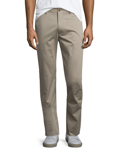 Flat-Front Stretch Sateen Pants