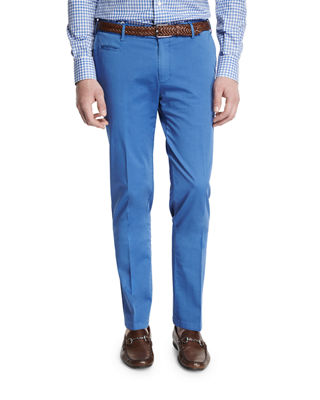 Flat-Front Cotton Trousers
