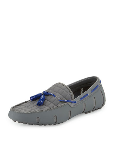 Swims Rubber Penny Loafer with Faux-Croc Trim