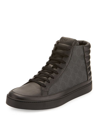 Image 1 of 4: Common Canvas & Leather High-Top Sneaker