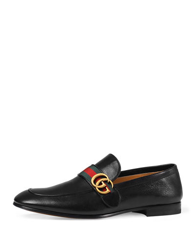 Gucci Men's Donnie Web Leather Loafers