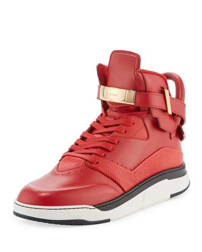 Buscemi B Court Leather High-Top Sneaker