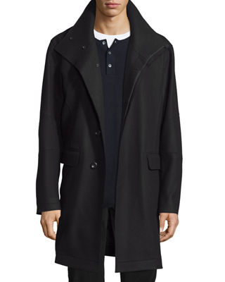 Vince Raw-Edge Single-Breasted Military Coat