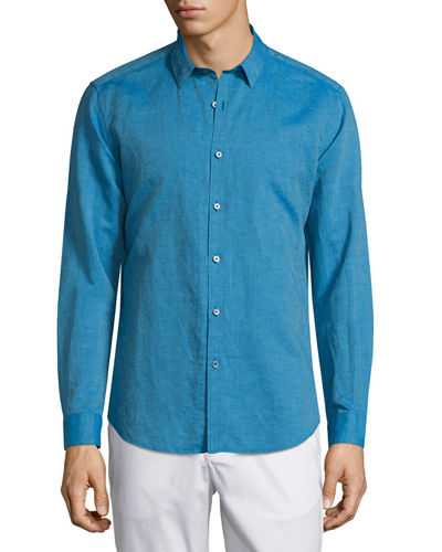 Zack Linen-Blend Long-Sleeve Shirt