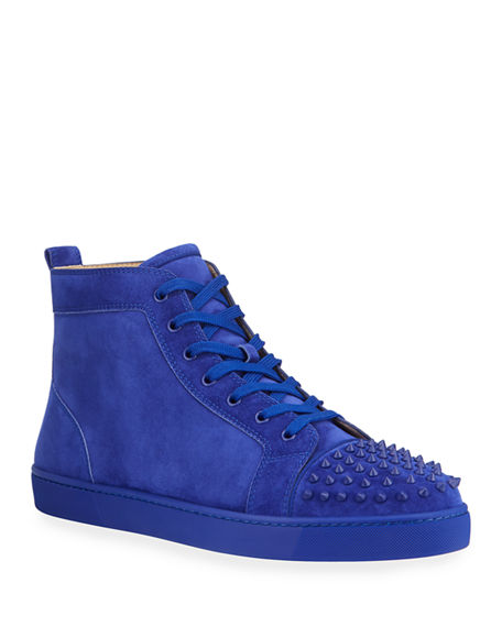 Christian Louboutin Men's Lou Spikes High-Top Red Sole Sneakers