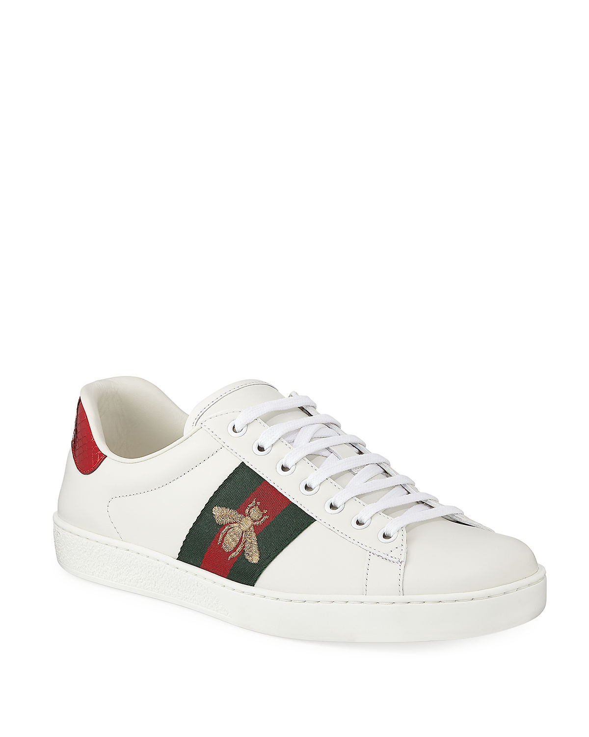 0f2a2661613 Gucci Men s New Ace Embroidered Low-Top Sneakers