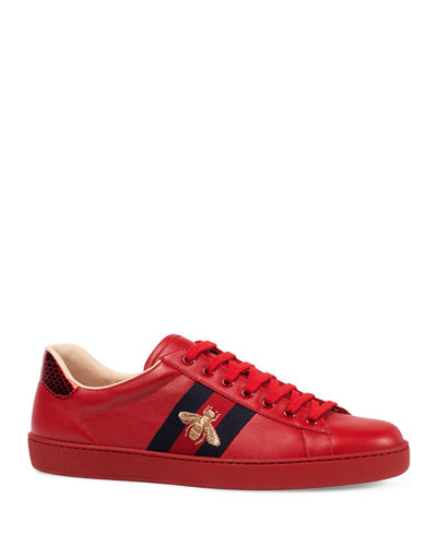 b4fe410957bb Quick Look. Gucci · Men s New Ace Embroidered Low-Top Sneakers. Available  in Red
