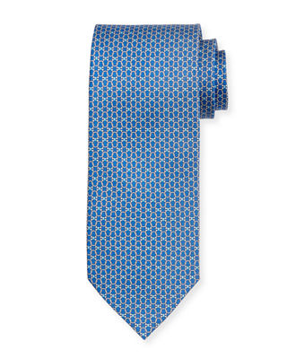 Interlocking Gancini-Print Silk Tie