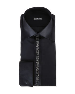 STEFANO RICCI CRYSTAL-PLACKET SILK FRENCH-CUFF TUXEDO SHIRT, BLACK
