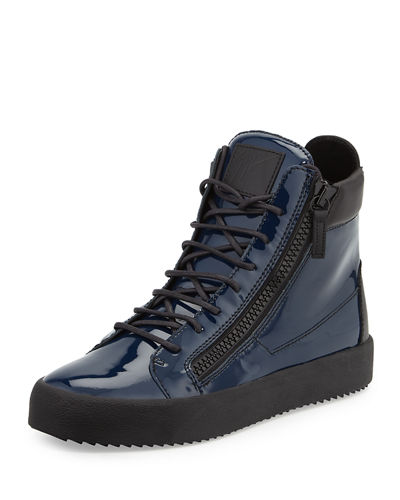 Men's Patent High-Top Sneakers