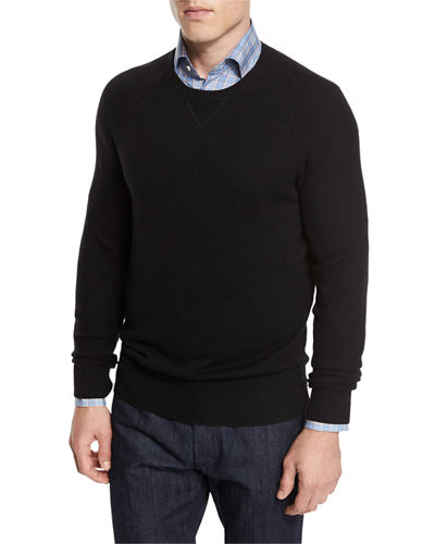 Neiman Marcus Mixed-Textured Crewneck Sweater