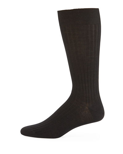 Neiman Marcus Ribbed Merino-Silk Ankle Socks