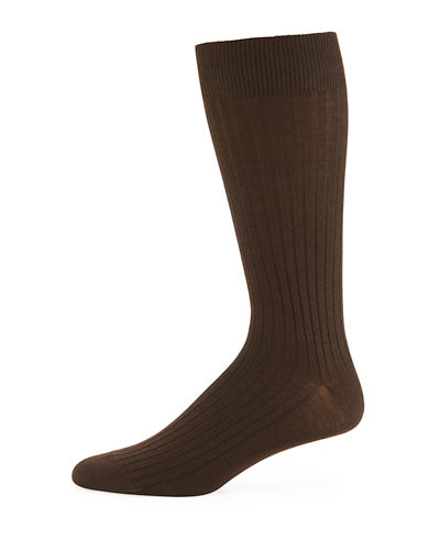 Ribbed Merino-Silk Ankle Socks