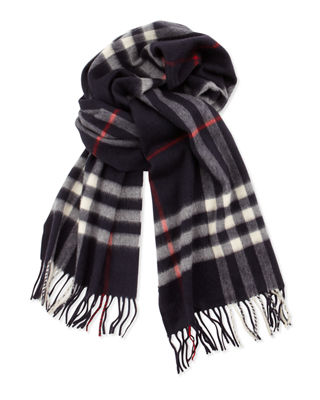 Burberry Men'S Cashmere Giant Check Icon Scarf, Navy